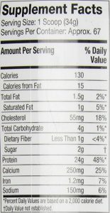 MuscleTech Platinum Whey Protein Powder Nutrition Facts
