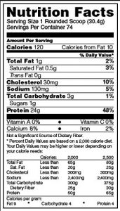 Optimum Nutrition Gold Whey Protein Powder Nutrition Facts
